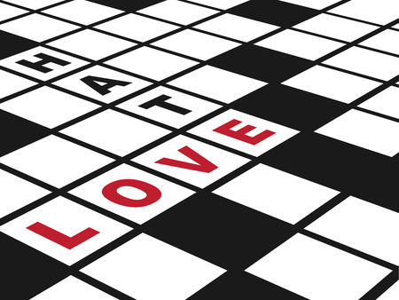 hate: Love and Hate  Illustration of  a conceptual crossword puzzle about love  Horizontal EPS10 vector