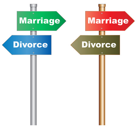 problemas familiares: Ilustración de un cartel conceptual acerca de una decisión difícil sobre el matrimonio y el divorcio