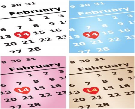 Vector illustration of a calendar showing February 14 in four different color schemes   Illustration