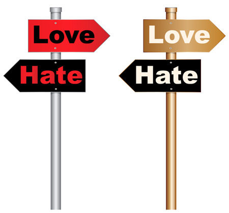 anger abstract: Illustration of  a conceptual signboard about love and hate