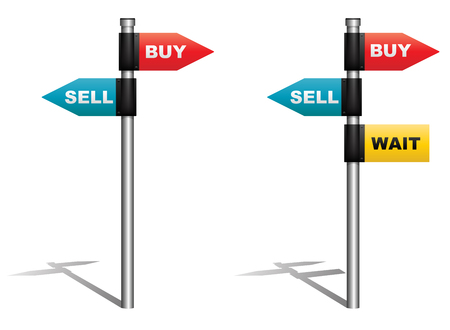 buy sell: Vector illustration of signboard showing buy sell and wait as directions  Eps10