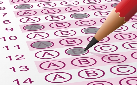 Vector illustration of an answer sheet with pencil Vector