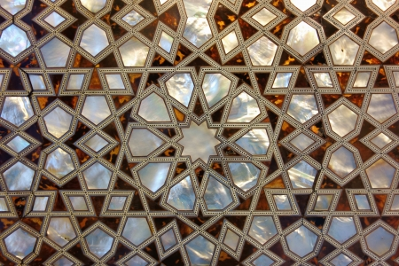 inlay: Mother of pearl mosaic from istanbul  Inlay with nacre is very famous and commonly used in turkey, especially for interior decoration  Stock Photo