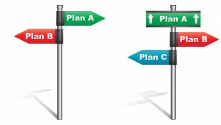 plan de accion: Vector ilustración de carteles que muestran los planes alternativos como direcciones