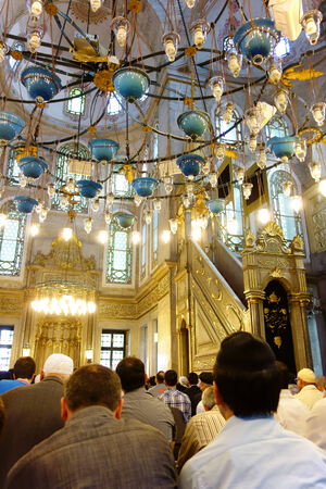 Istanbul, Turkey - 2 May, 2013  Muslim men gathered in Eyup Sultan Mosque for the afternoon prayer  This mosque has been built by the Ottomans in 1458 just beside the tomb of Abu Ayyub Al Ansari, one of the companions of Prophet Mohammad