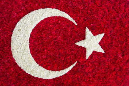 Turkish National Flag as an arrangement of white and red carnation flowers Stock Photo