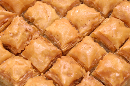 Close up shot of traditional homemade style Turkish baklava Stock Photo