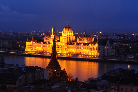 Long exposed twilight shot of the Hungarian Parliament Building in Budapest Hungary