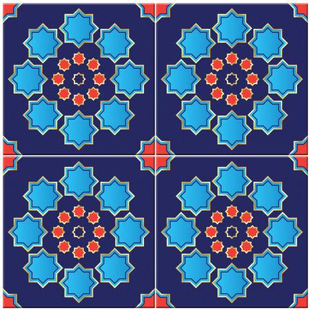 Photorealistic illustration of a seamless Turkish tile isolated on white genuine design