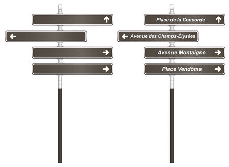 Template of traditional Paris France City Signboards as vector illustration Illustration