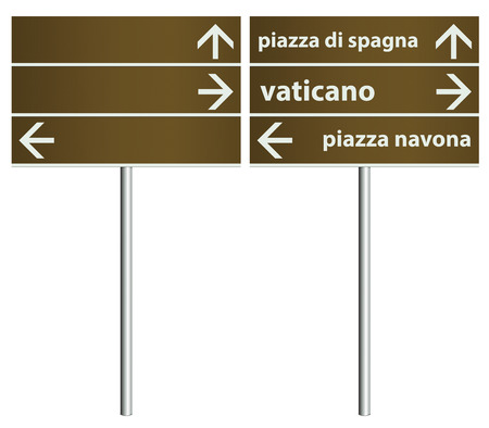 Template of traditional Rome Italy City Signboards as vector illustration