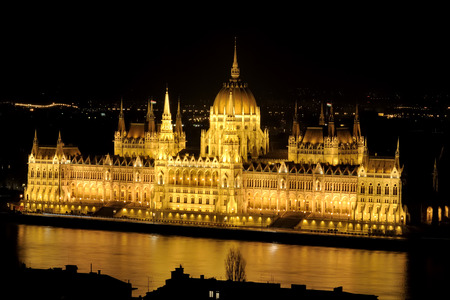 Long exposed night shot of the Hungarian Parliament Building in Budapest Hungary