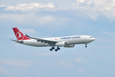 Istanbul, Turkey - May 2, 2014  Turkish Cargo Airbus A330 landing at Istanbul Ataturk Airport   This aircraft, TC-JCI, was delivered to Turkish Airlines Cargo in 2013  Editorial