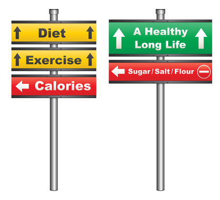 unhealthy food: Illustration of a conceptual signboard about diet and exercise for a healthy life
