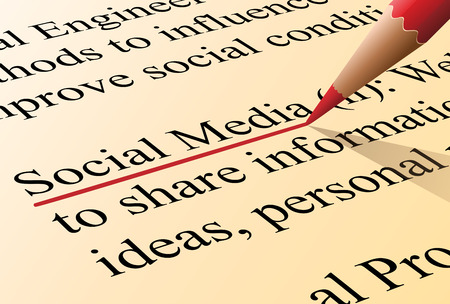 Definition of the term social media illustrated as it is in the dictionary Vector