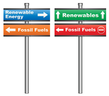 renewables: Illustration of a conceptual signboard about renewable energy sources vs fossil fuels