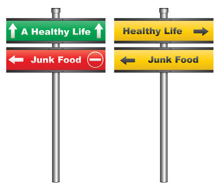 unhealthy food: Illustration of a conceptual signboard about healthy eating