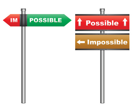 Illustration of a conceptual signboard about possibilities impossible and possible Illustration