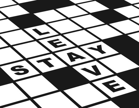 Leave or Stay  Illustration of  a conceptual crossword puzzle about leaving or staying  Illustration