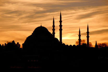 Sunset behind Suleymaniye Mosque in Istanbul Turkey Stock Photo