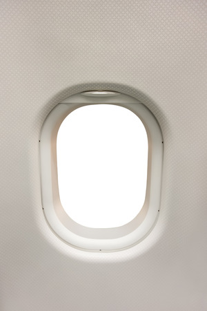 Plane interior window as template, the window area isolated on white