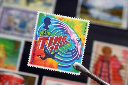 UNITED KINGDOM - JUNE 6, 1995: Macro photo of a British stamp about the book The Time Machine written by the science fiction writer Herbert George Wells