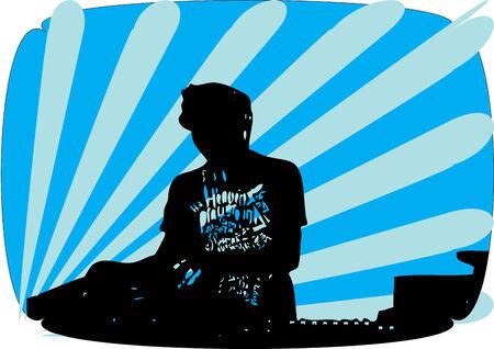 making music: DJ making music Illustration