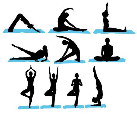salud sexual: Siluetas de yoga