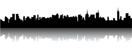 new york skyline: New York skyline with a reflection on background Illustration