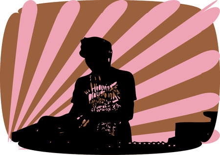 making music: DJ making music Illustration