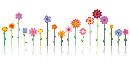 Different flowers in many different colors as a vector image