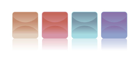 creme: Different stickers button in the colors purple, blue red and skin tone