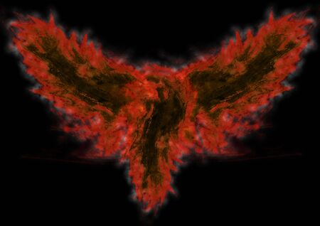 An abstract bird in fire flames on a black background