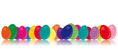 Easter eggs in very different colors with a reflection Vector