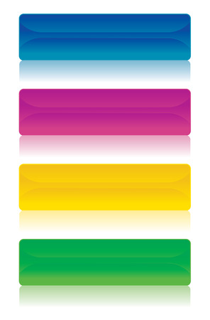 Different banners buttons in the colors blue, magenta, yellow and green Vector