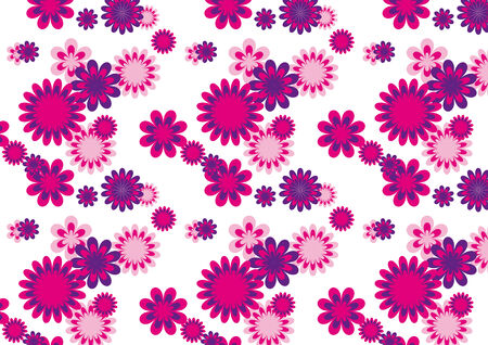 A flower pattern that is seamless with the colors pink an purple