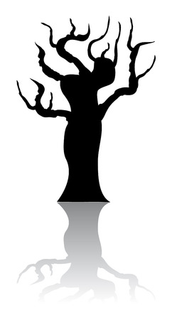 dead tree: A black silhouette of a tree with a reflection on the background