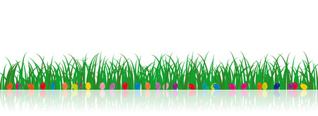 A vector grass illustration with easter eggs and a reflection on the background Vector