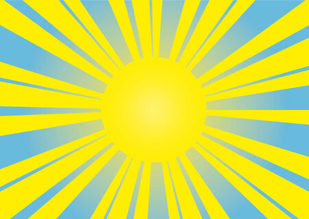 Sun on a blue bright background Vector