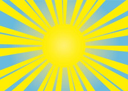 san rays: Sun on a blue bright background Illustration