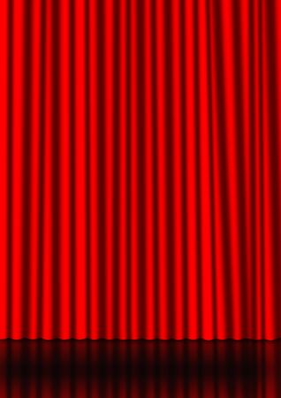 Red curtain on a stage with a reflection on the background photo