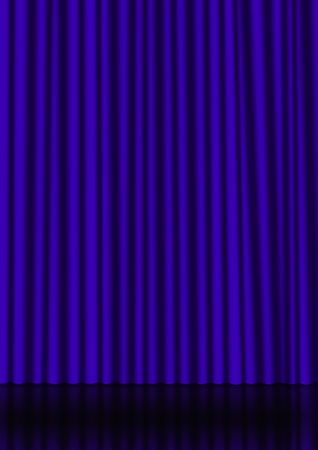 Blue curtain on a stage with a reflection on the background photo