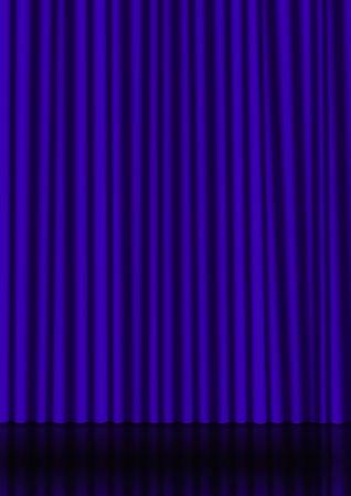Blue sipario su un palco con una riflessione sullo sfondo Archivio Fotografico - 4581157