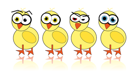 Illustrated easter chick with different emotions Vector