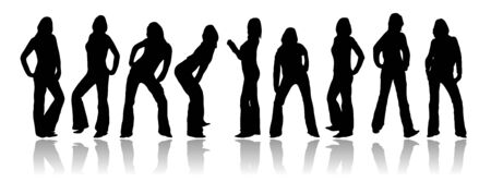 Set of silhouettes from a woman in different poses Vector