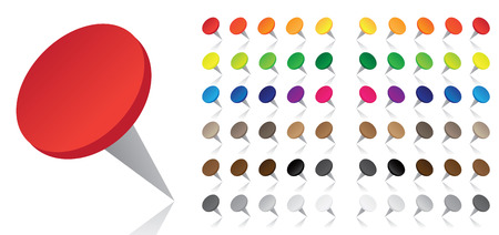 Push-pins in many different colors with a reflection on the white background Stock Vector - 4996745