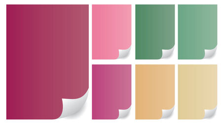 Paper curls in many different colors. Office objects Stock Vector - 5015424
