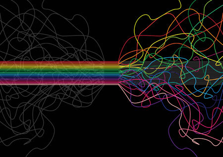 abstract, colorful, decorative stripes in colors of the rainbow with a black background