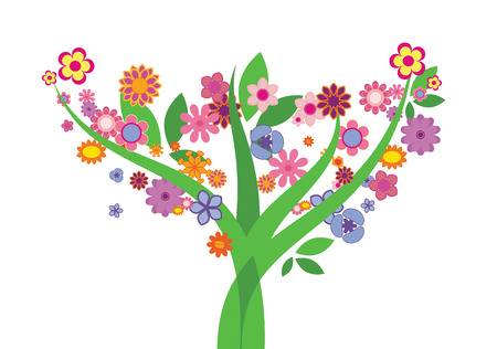Three with many beautiful colored flowers and leaves Vector