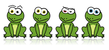 coldblooded: Illustrated vector green frogs with a reflection on the background